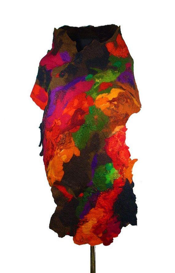 Felted Scarf Multicolor Scarf Nunofelt Scarf Long Wrap Wool Scarves Felt Nunofelt Nuno felt Silk Rainbow Eco shawl Fiber Art