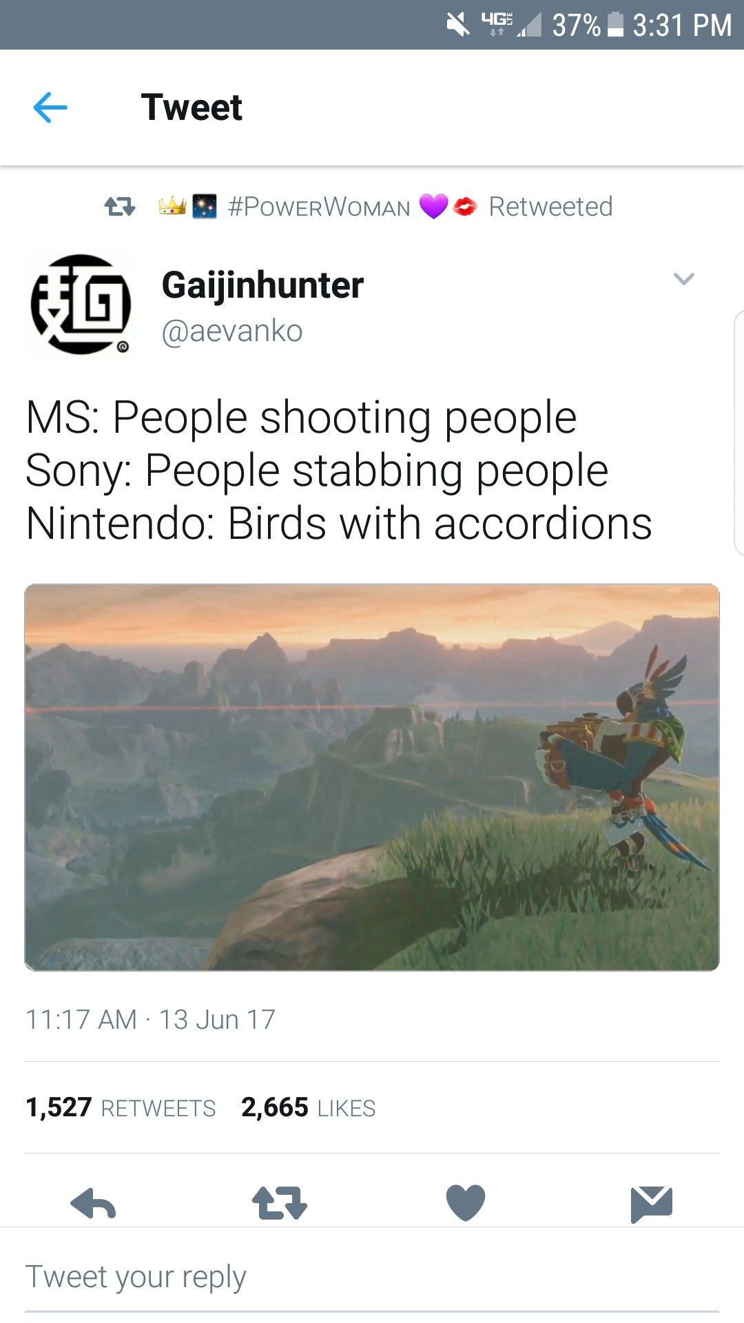AND THIS IS WHY I LOVE NINTENDO. They don't make that rated M garbage. They're the only company with any imagination anymore.