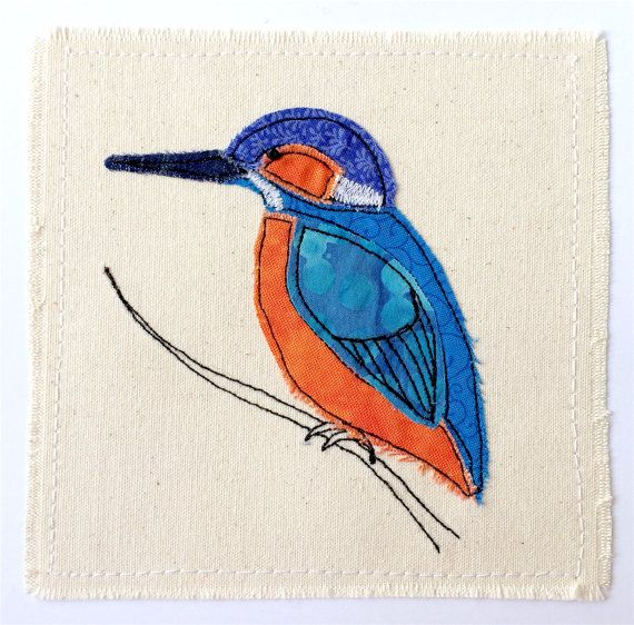 Kingfisher Greeting Card Personalised Textile Art Embroidery Fabric Applique Picture Fishing Bird Natu Fabric Cards Textile Art Embroidery Thread Painting