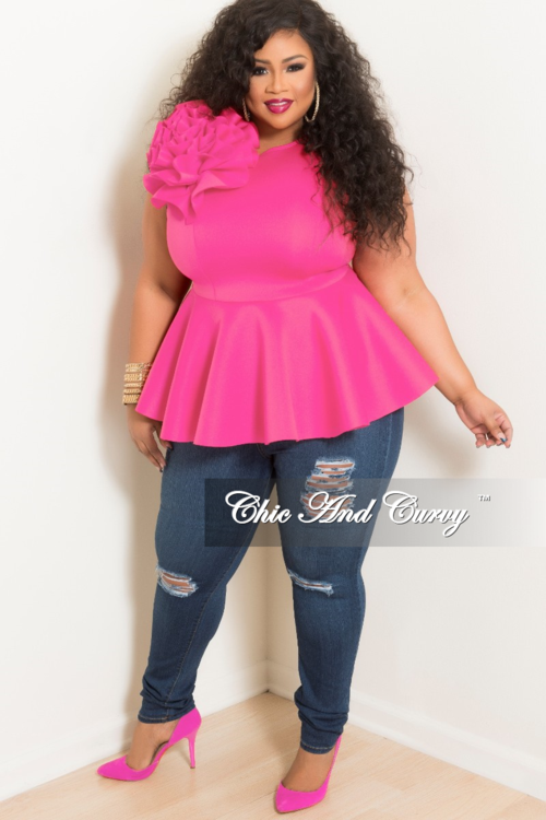 08ccff84ec5 Final Sale Plus Size Flower Sleeveless Peplum Top in Hot Pink