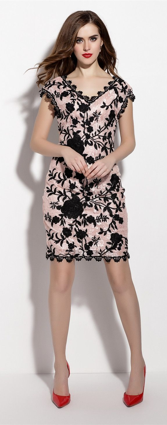 V Neck Floral Embroidery Sheath Dress