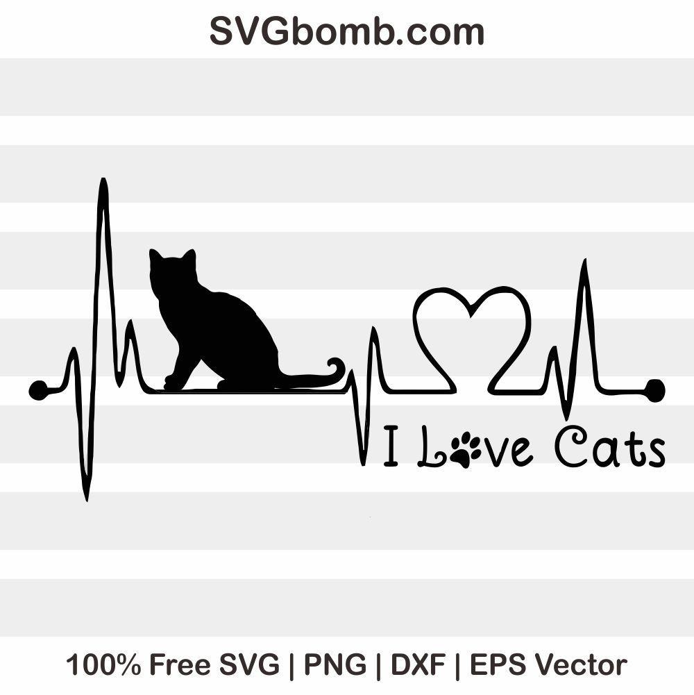 Download Free I Love Cat SVG Vector Image | Paw print art, Cat ...