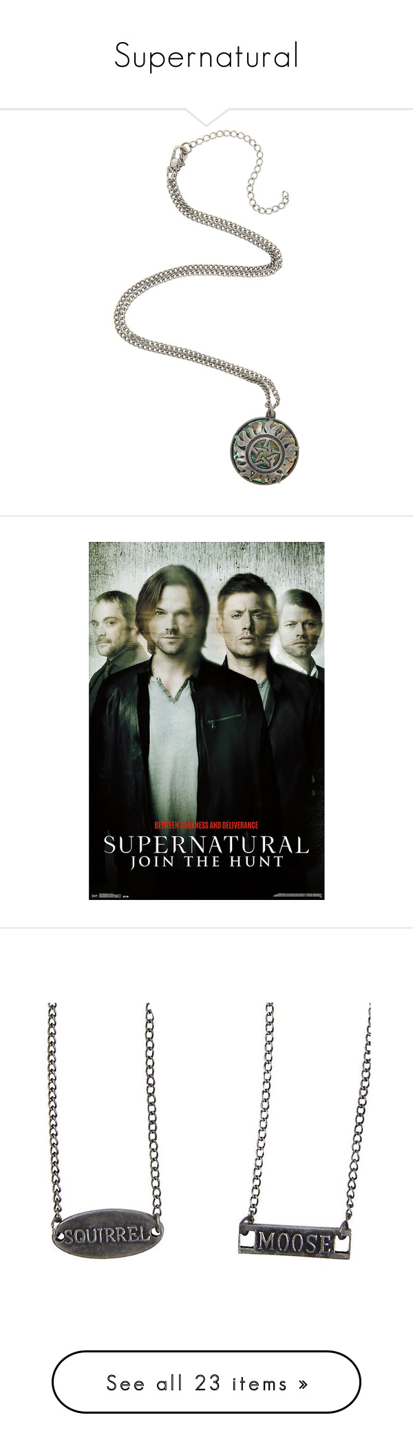 """Supernatural"" by justanotherfobsessed ❤ liked on Polyvore featuring jewelry, necklaces, chains jewelry, stone pendant necklace, stone jewelry, chain pendants, stone jewellery, home, home decor and wall art"