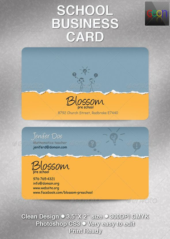 School Business Card, Excellent for Teachers | Business cards, Clean ...