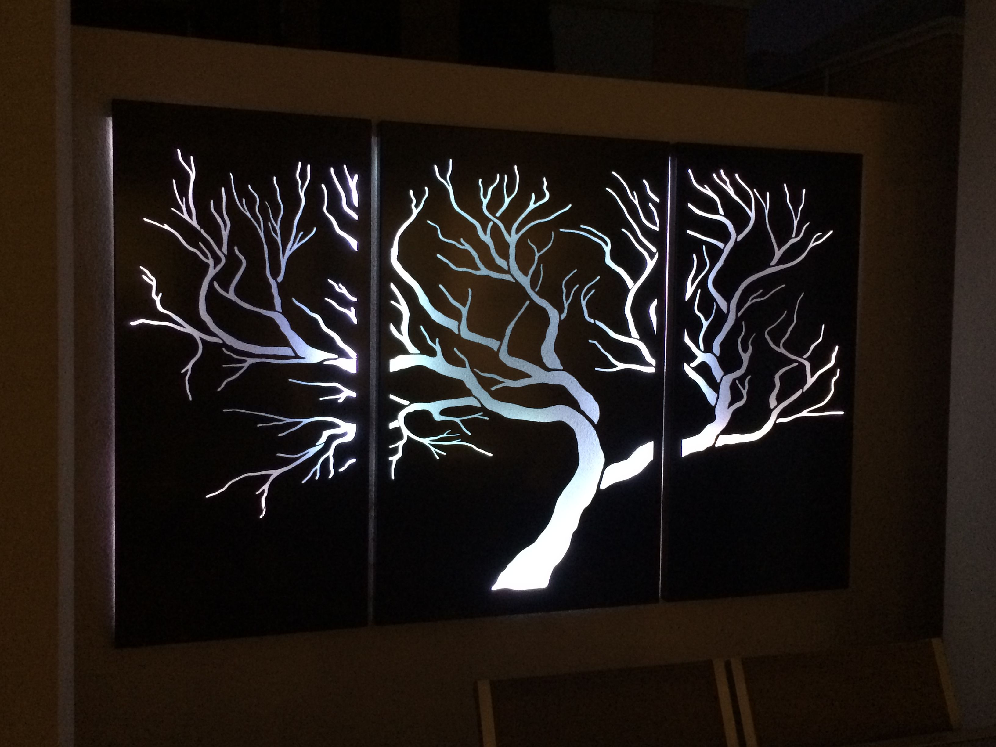 Tree With White Led Lights Outdoor Laser Cut Screens