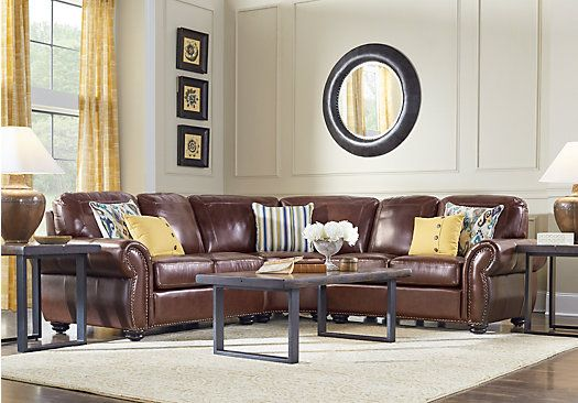 Picture Of Brockett Brown Leather 3 Pc Sectional From Leather Sectionals Furniture Sectional Living Room Sets Rooms To Go Furniture Living Room Leather