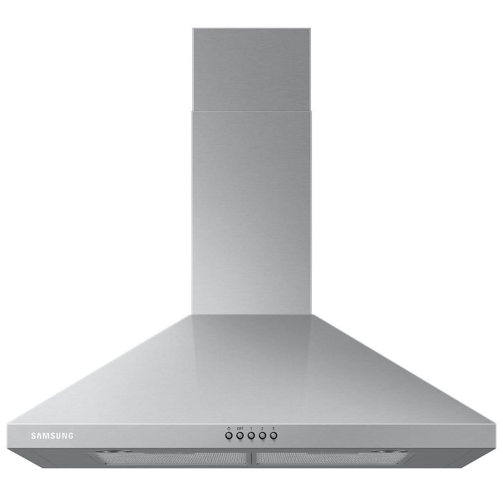 Samsung 30 In Wall Mount Range Hood With Led Lighting In Stainless Steel Nk30r5000ws The Home Depot Wall Mount Range Hood Range Hood Stainless Range Hood