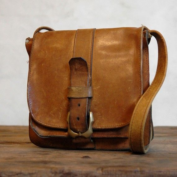 Upside - Vintage 70s Leather Bag with Bold Brass Strap Closure