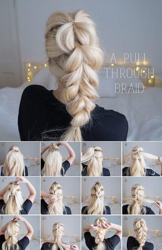 Learn How To Make A Pull Through Braid Alldaychic Hair Styles Long Hair Styles Curly Hair Styles