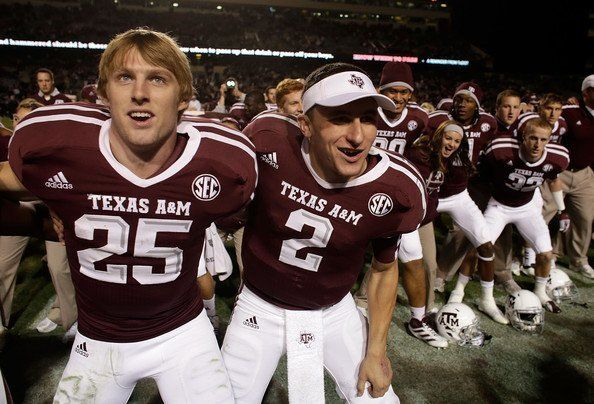 Ryan Swope 25 And Johnny Manziel 2 Of The Texas A M Aggies Celebrate With Teammates After Defeating The Missouri Tigers 59 29 Johnny Manziel Texas A M Texas