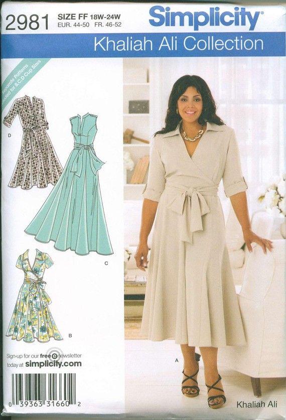 Plus Size Wrap Dress Pattern : dress, pattern, Patterns, Notions, Iconic, Dress, Simplicity, Dresses,, Sewing,, Sewing