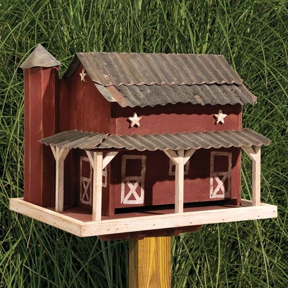 Unique Wooden Bird Houses: Amish Primitive Barn With Tin Roof Bird Feeder