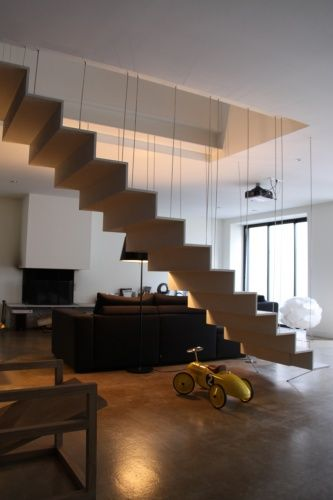 Suspended Staircase In Ductal High Performance Fiber Concrete. Toulouse,  France
