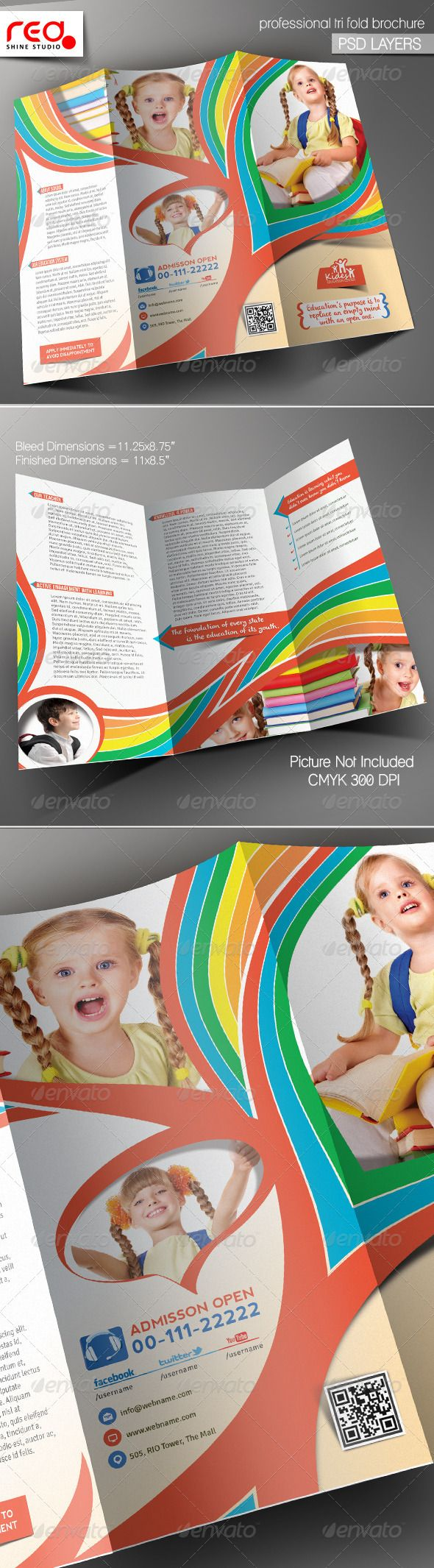 buy brochure templates - kid 39 s school promotion trifold brochure template stuff