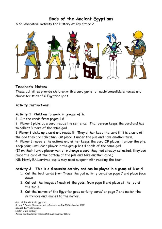 Gods of the Ancient Egyptians A Collaborative Activity for History ...