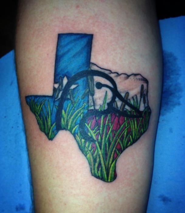 True texas duck hunter tattoo done by ricky garza for Top tattoo victoria tx