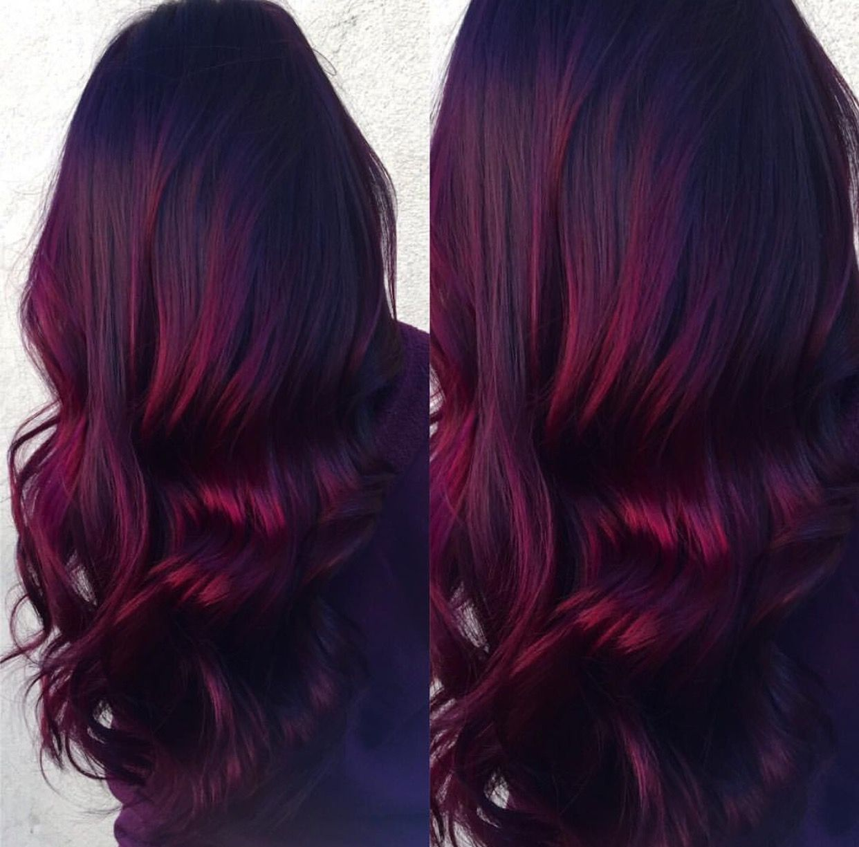 Picture of black and magenta balayage hair - Red Velvet Balayage Dark Roots With Vibrant Burgundy Ends Done By Ren E Spinale Magenta Hairred