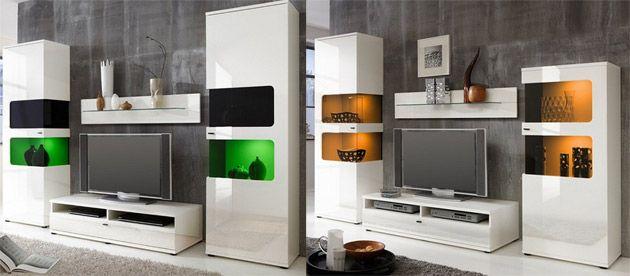 Wohnwand weiß hochglanz - modern vom Designer - hängend + TV - wohnwnde hochglanz