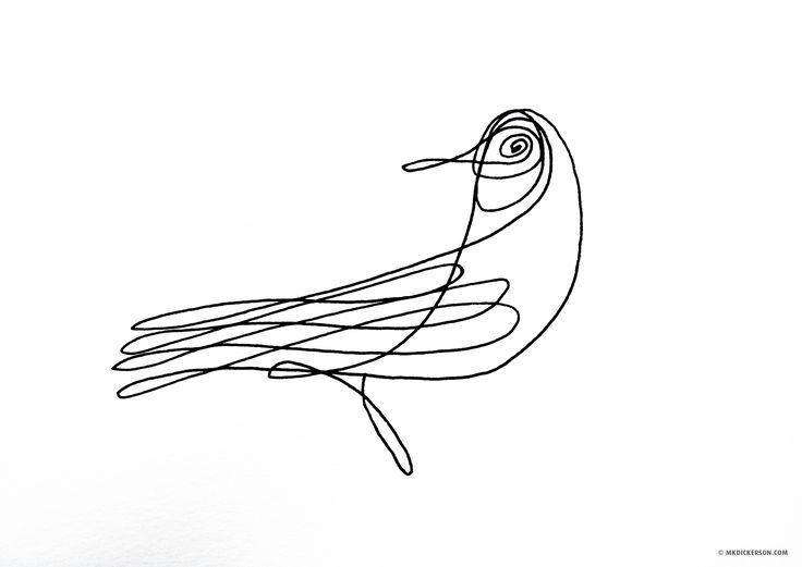 Pen Drawing Birds Wire
