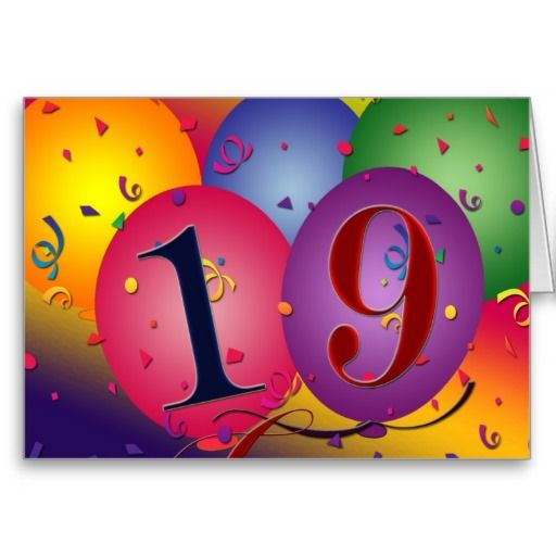 Happy 19th Birthday Card Happy Birthday Wallpaper Pinterest