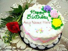 Birthday Cakes Images To Write Name ~ Write name on rose birthday cake image chandu pinterest cake
