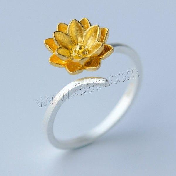 925 Sterling Silver Open Finger Ring, Flower, plated