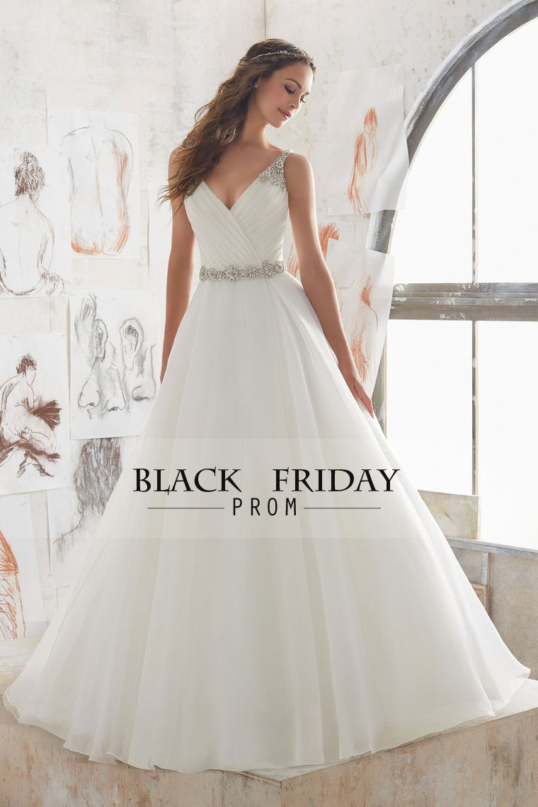 open back v neck wedding dresses organza with beads and ruffles