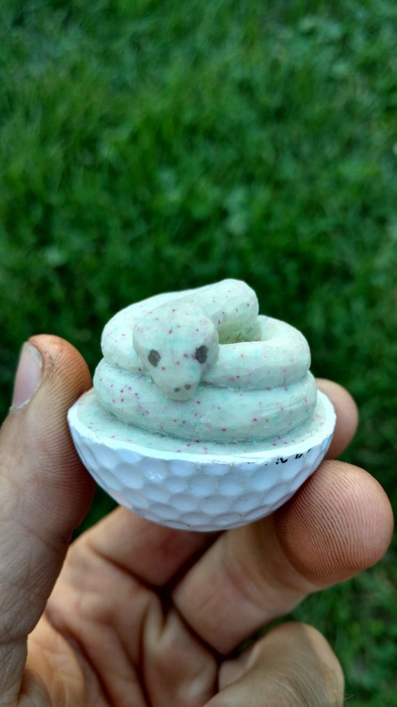 Cute snake carved golf ball by codyjoneswoodstuffs on etsy