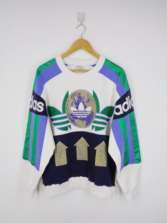 fa2321769ecc Adidas Sweatshirt Adidas Pullover Size M-L Vintage 90 s Adidas Big Logo  Made In Japan Sweater