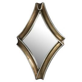 Diamond-shaped wall mirror.    Product: Mirror    Construction Material: Polyurethane and mirrored glass    Color: Garnerville silver Features: Ribbon-inspired frame         Dimensions: 40 H x 25.5 W
