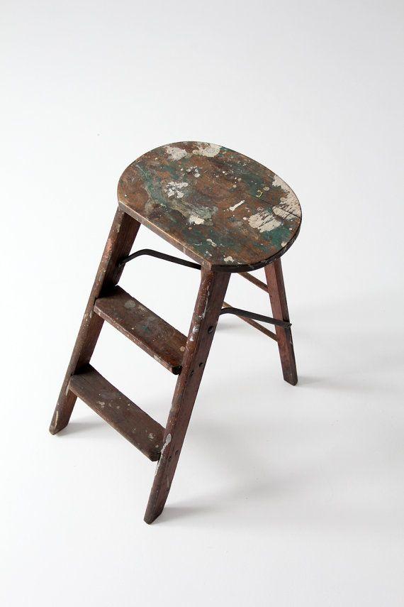 Best Antique Step Ladder Wood Step Stool Painter S Stool 400 x 300