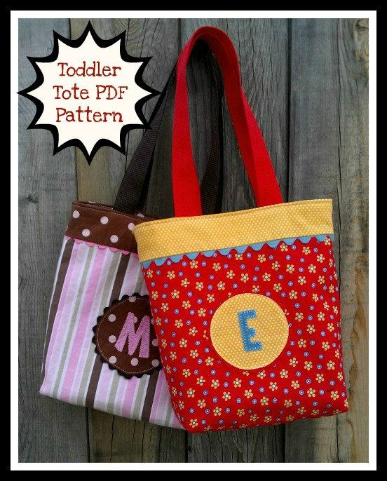 Toddler Tote - PDF Sewing Pattern - Easy to sew - Child\'s Mini Tote ...