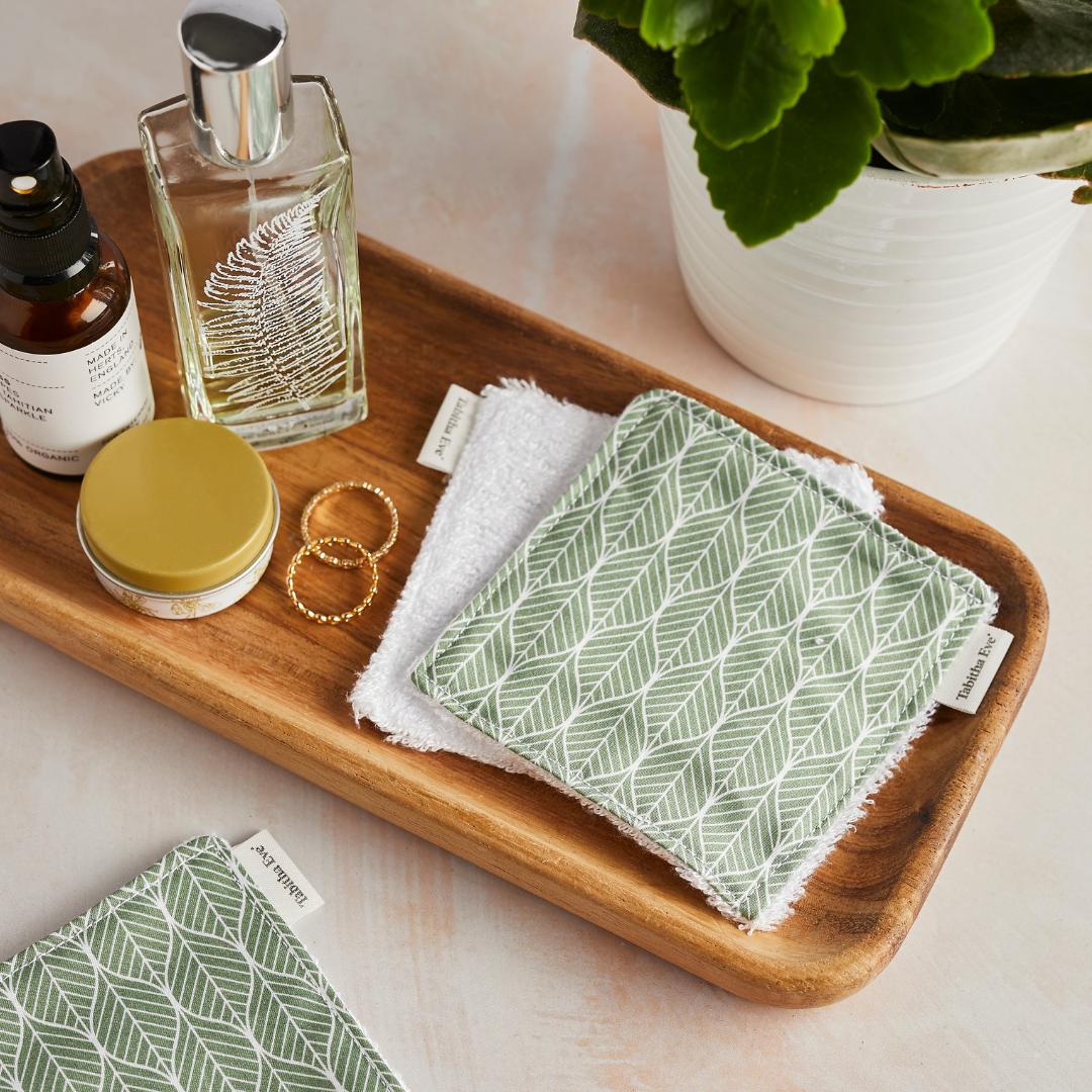 Wiederverwendbare Make Up Pads aus Bambus & Baumwolle – Geo Leaf / 5 Pads