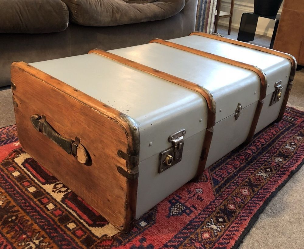 Peachy Antique Vtg Painted Bent Wood Steamer Trunk Large Ottoman Gmtry Best Dining Table And Chair Ideas Images Gmtryco