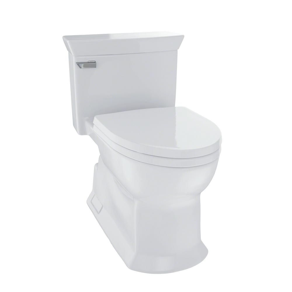 Toto Eco Soiree 1 Piece 1 28 Gpf Single Flush Elongated Skirted Toilet With Cefiontect In Colonial White Ms964214cef Toto Toilet Ada Toilet One Piece Toilets