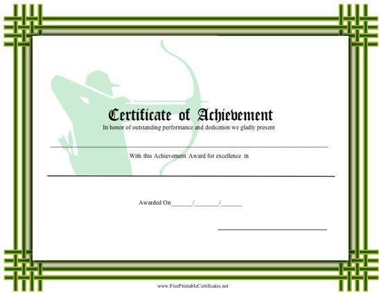 This Printable Certificate With A Green Interlocking Border
