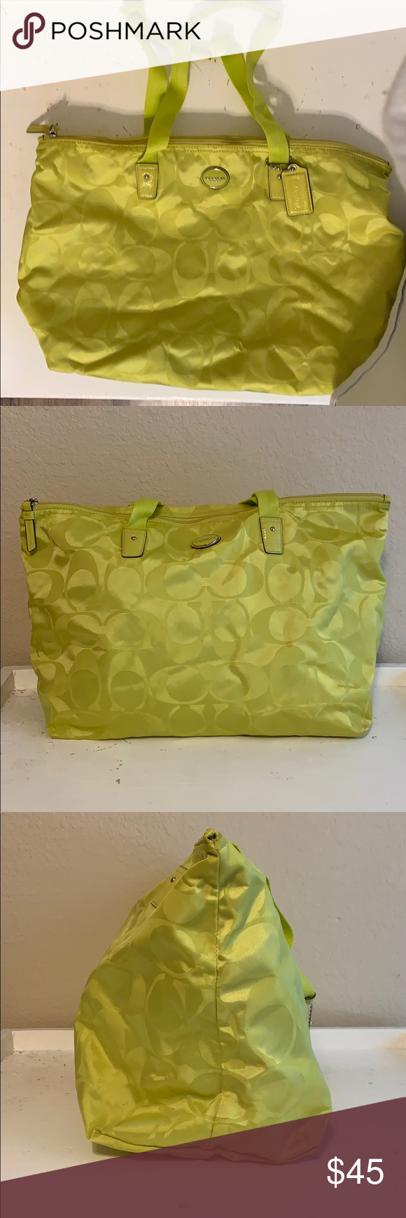 Coach Signature Bag & Snap Pouch Chartreuse / yellow bag