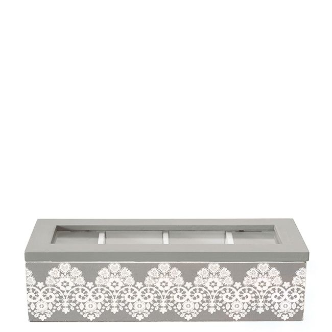 GreenGate Teabox Rectangular Lace Warm Grey 24 x 9 x 6,5 cm | NEW! GreenGate Spring/Summer 2014 | Originated-Shop