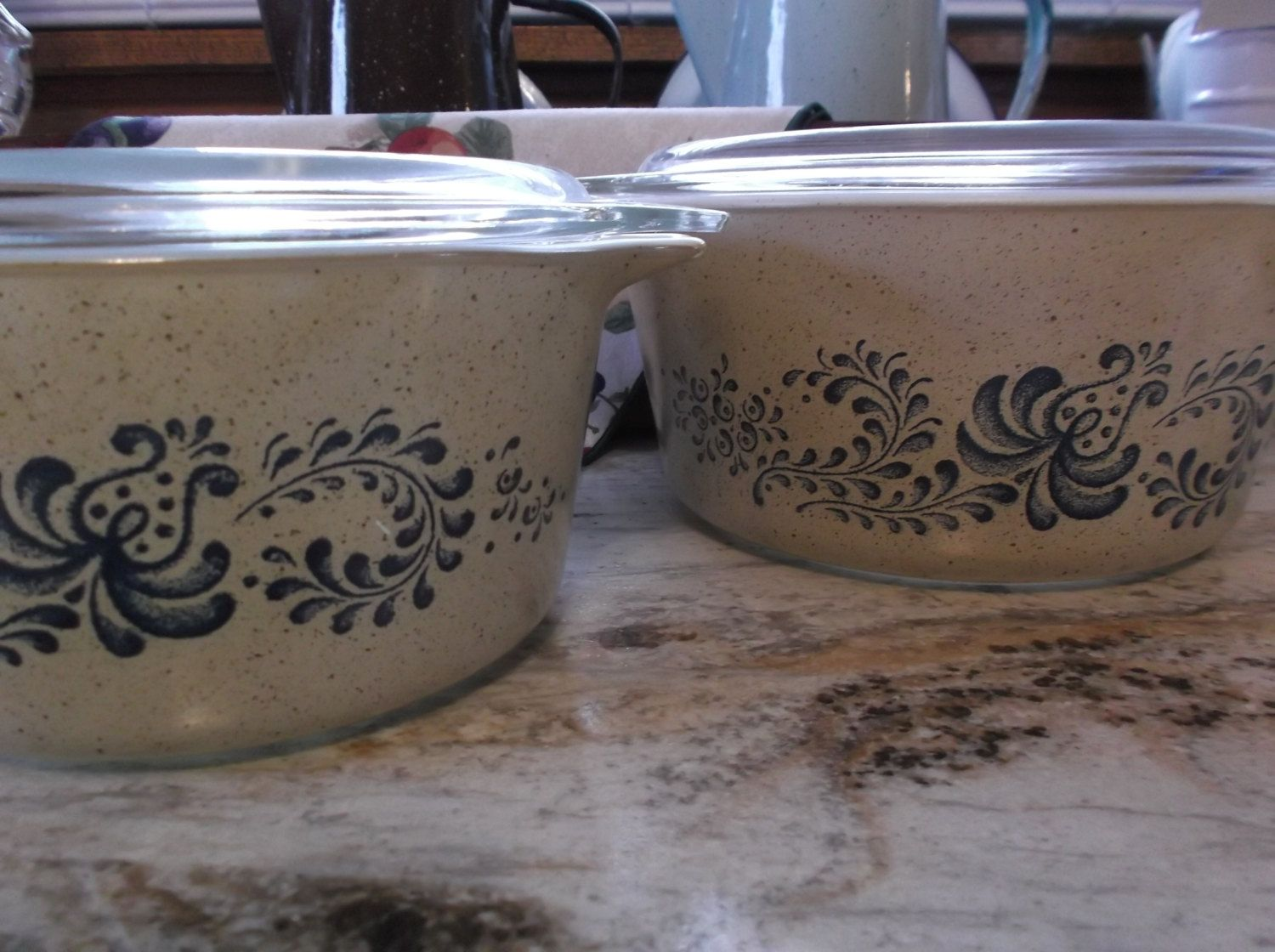 Vintage Pyrex Homestead Blue Pattern Round Casserole Dishes, set of two  474 and 473 by justforvintagefun on Etsy