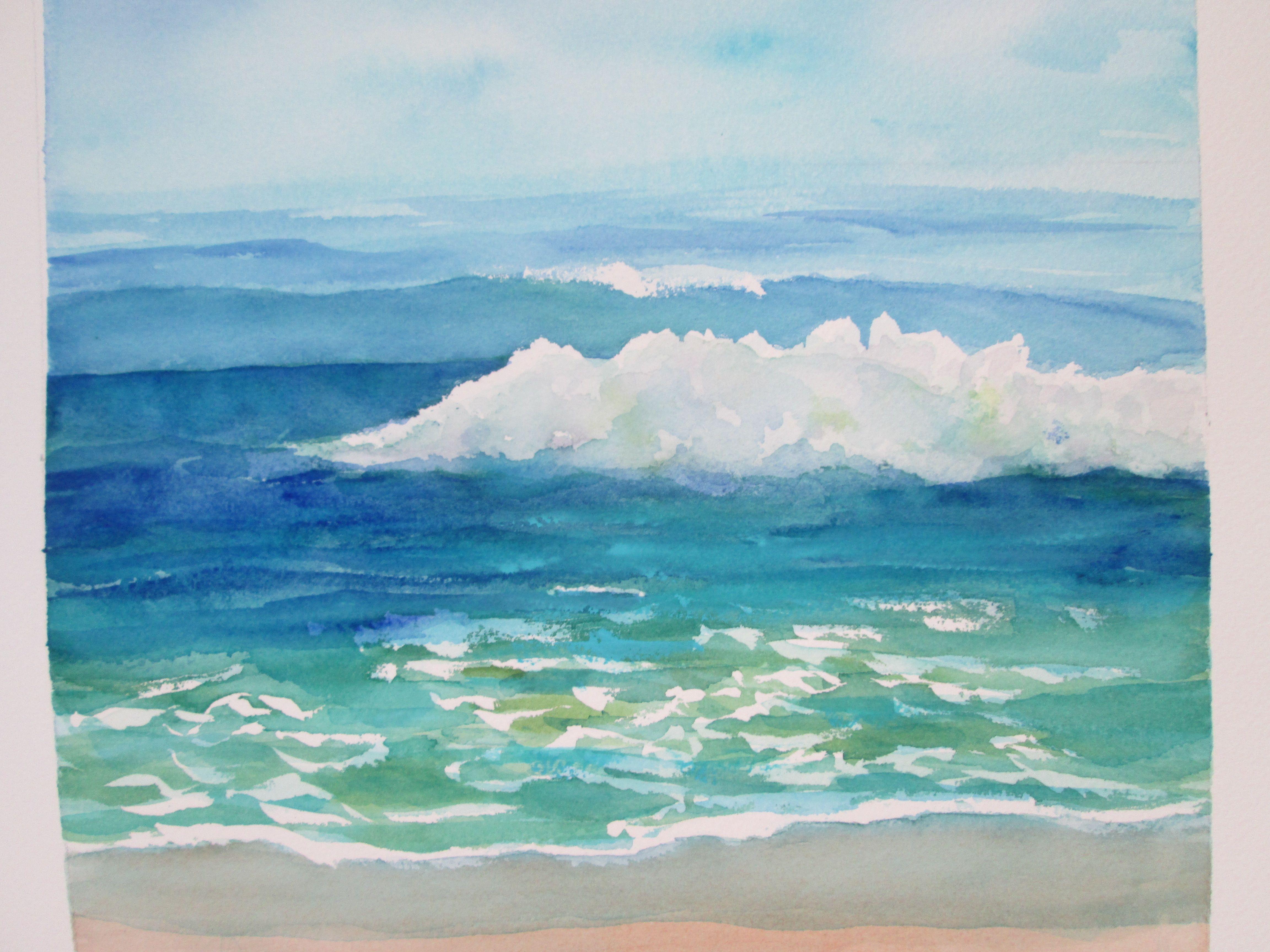 Sea Foam By Michele Mcdonough Ocean Painting Original Watercolors