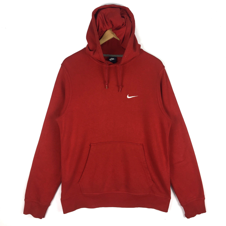 Vintage Nike Swoosh Hoodie Sweatshirt Embroidery Small Logo Distresses Red Pullover Jumper Made In Pakistan Size M In 2020 Sweatshirts Hoodie Red Pullover Vintage Nike