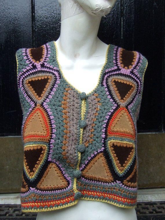 1970s Halston Suede Patch Work Knit Vest