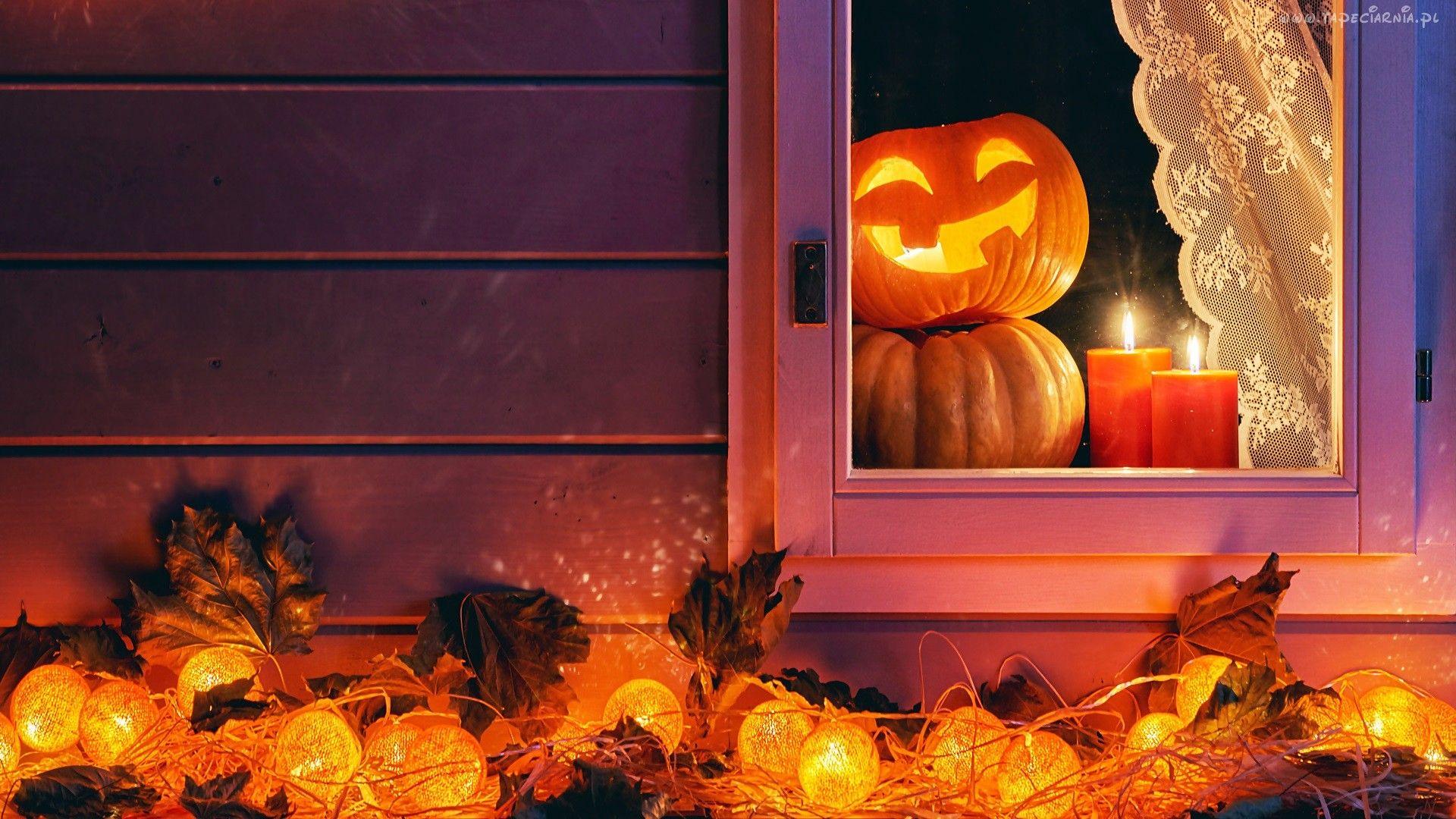 Halloween, Dynie, Okno, Świece, Lampki, Dekoracja
