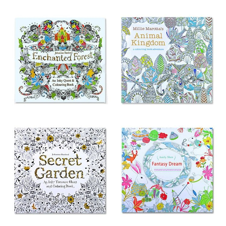 4 Pcs 24 Pages Mixed Styles Relieve Stress For Kids Adult Fantasy