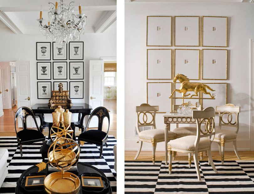 Featured home black white and gold themed d cor better for Black and white dining room decor