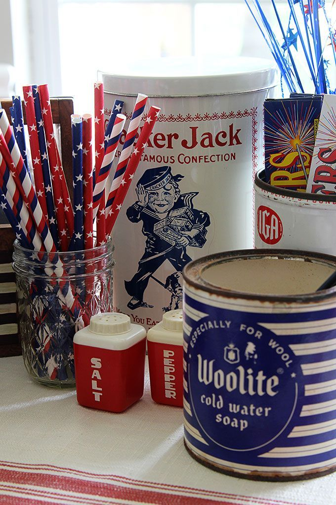 Patriotic Decorations Part - 30: A Patriotic Vignette With A Mix Of Red White And Blue Vintage Items For The  4th