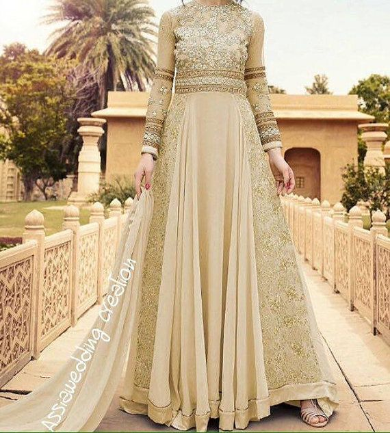 Indian anarkali dress Cream color evening dress long sleeves dress ...