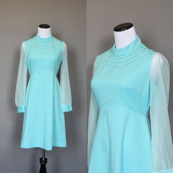Vintage 70s Dress Aqua Blue 1970s Cocktail by persnicketyvintage, $38.50