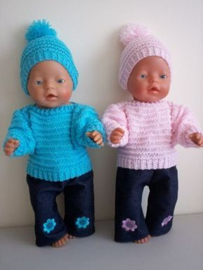 Baby Born Dolls Clothes Aqua Pink Hand Knitted Outfit SET | eBay