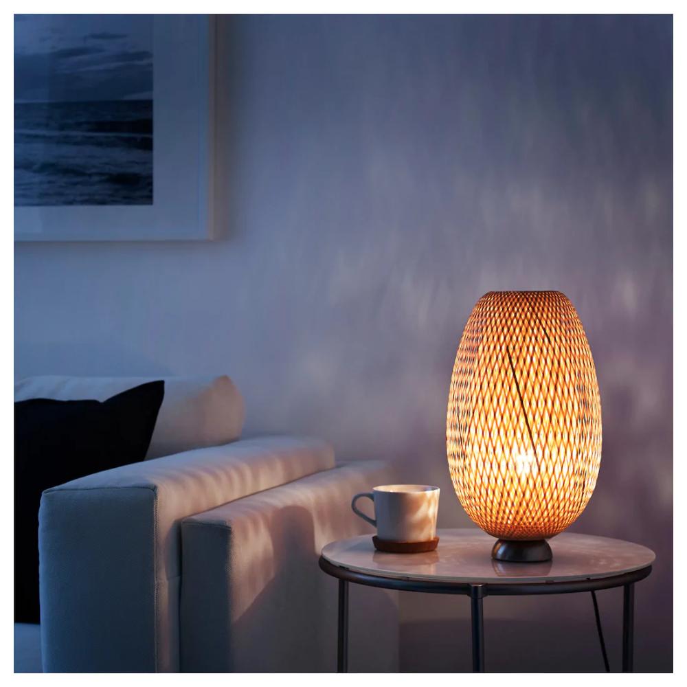 Boja Nickel Plated Bamboo Rattan Table Lamp Ikea Small Table Lamp Table Lamp Lamp